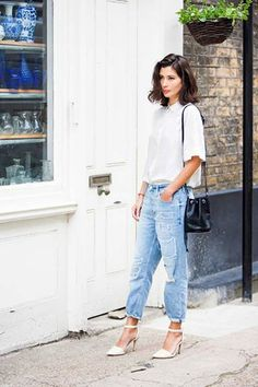Sheer white. Boyfriend jeans. White points. Ankle strap.