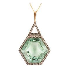 Now THIS is a statement piece! Antique Russian Green Aqua Beryl Diamond Necklace 1867