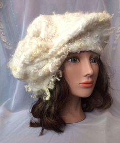 Felted wool silk beret designer cream taupe white by Tatiana123