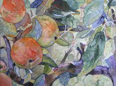 Unsere Aquarelle als Kunstkarten im Angebot des Präsenz Verlages   süß sauer (c) Ein Apfelbild in Aquarell von Frank Koebsch
