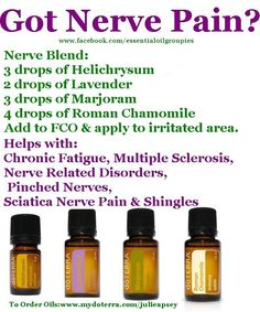 Essential oil recipe for NERVE PAIN. (contact me to find out how to get 20%-25% off doterra.kimt@gmail.com. To order http://mydoterra.com/KimT)