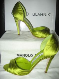 Manolo Blahnik M-CALRIP Lime Green Satin D'Orsay Sandal | Did someone say green satin? wedding day shoes