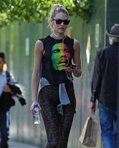 Candice Swanepoel Leggings   Candice Swanepoel in leopard leggings in Soho -07 - GotCeleb