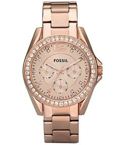 Fossil Watch, Women's Riley Rose Gold Plated Stainless Steel Bracelet 38mm ES2811 - All Watches - Jewelry & Watches - Macy's