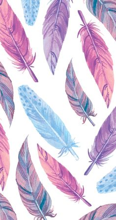 Watercolour feather pattern; pink, coral, purple, and blue // Watercolor feathers Art Print