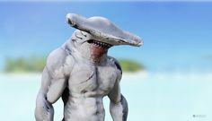 Animal Drawings, Cool Drawings, Aliens, King Shark, Hammerhead Shark, Drawing Tips, Sea Creatures, Garden Sculpture, Coast