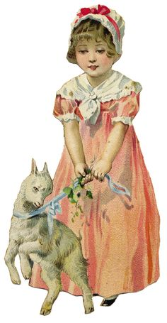 Vintage Easter Girl with Lamb