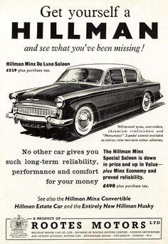 """""""Get yourself a Hillman"""". 1958 Hillman Minx advert."""