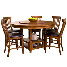 Images Of Sunny Designs 1282WC Timber Creek 60 Round Table With Lazy Susan In Weathered