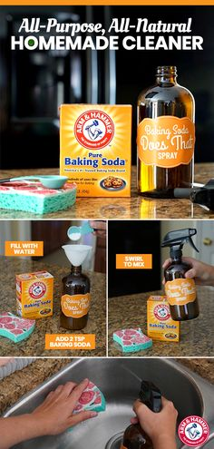 Take your countertop catastrophes to task with two simple ingredients: water and ARM & HAMMER™ Baking Soda. Simply fill a spray bottle with water, add 2 teaspoons of ARM & HAMMER™ Baking Soda, and shake the mixture until blended. Now, you're ready to hand