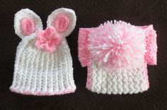 Easter Bunny Hat and Diaper Cover newborn to 6 by simplyyarn27