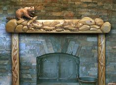 Carved Redwood Mantle Crafted By Steve Blanchard Of