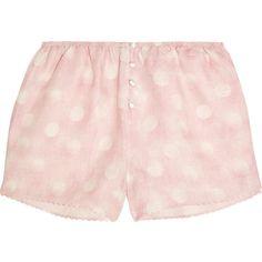 Rosamosario Amore In Kos polka-dot linen pajama shorts ($225) ❤ liked on Polyvore featuring intimates, sleepwear, pajamas, bra, panties, shorts, baby pink, rosamosario, polka dot sleepwear and polka dot cami