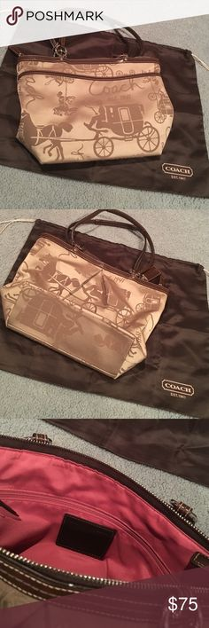 Coach Bag Brown and Gold/Tan Coach Tote - Very Gently Used!  Comes with brown Coach bag cover as well! Coach Bags