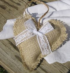 burlap and lace heart