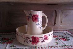 Vintage French Wash Bowl and Pitcher, Art Déco Wash Jug and Basin, Bathroom Set, Toilet Set, Art Déco, Moulin des Loups,Shabby Chic,