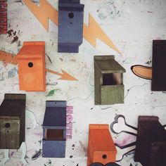 Bird boxes with laser cut designs by @uninorthants Fine Art students #LaserCutting #UniNorthants #BirdBox #Sustrans by sustransuon
