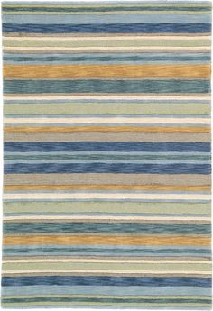 RugStudio presents Company C Sheffield Stripe 18237 Sea Hand-Hooked Area Rug