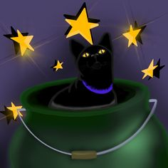 It's the last day of @brettmanningart's #omensdrawingchallenge - my final contribution is here for #blackcat   Though some claim black cats are unlucky, they've always brought goodness to my life. So here's a wee black cat playing, 'if I fits, I sits' with a cauldron! #artwitch