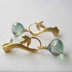 Green Quartz Earrings Faceted Mystic Quartz by juliegarland, $30.00