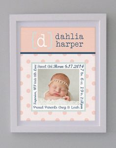 Birth Announcement Photo Poster Print Keepsake Wall by KateGeary