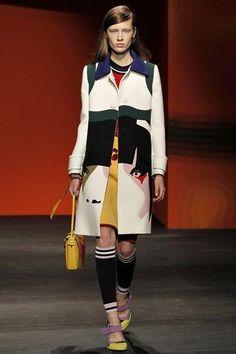 PRADA S/S 2014 RUNWAY Color Block Virgin Wool Coat Jacket IT38/US4 NWT #Prada #BasicCoat