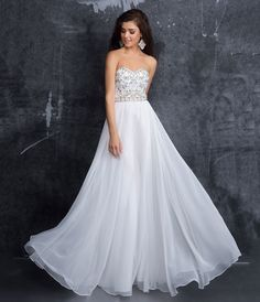 Preorder Nina Canacci 1295 Ivory Strapless Embellished Open Back Chiffon Gown For Prom 2017