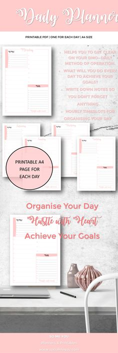 Daily Planner Printable, Organise your day, Hourly Schedule, Daily Schedule 2017, Daily Method of Operation, Planner Printable, Each Day