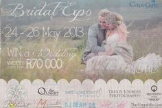 Make sure you've saved this weekend for some time to visit the Moments2Media stall at the Cape Gate Bridal Fair 24-26th May 2013. Close the the Fashion Express Shop. Videography of your wedding day to be won. C U there