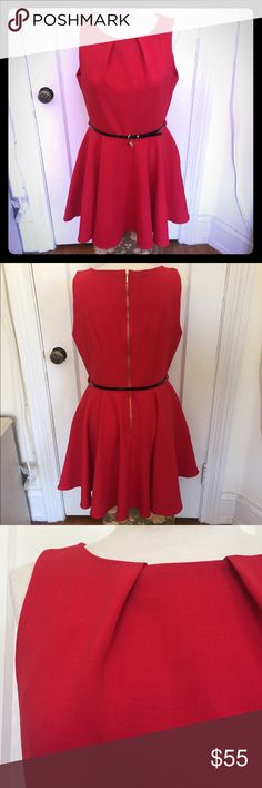 """Modcloth """"Luck Be a Lady"""" Red A-Line Dress Closet brand dress from ModCloth. This size and color currently sold out online. Please note: it's a UK size 16, which translates to a US size 12. Bust: 38"""", waist: 33"""", hips: 50""""+. 93% polyester, 7% elastane, so it does have a bit of stretch. I'm a 42"""" bust and I can get it on, but it does squish my chest some, so probably best for a slightly smaller bust. Pockets (!!), skinny black patent belt with cute crown and heart charms. Tiny pull on the…"""