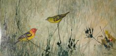 """""""Western Tanager Pair"""" by Floy Zittin original watercolor on board, size 12 x 6"""