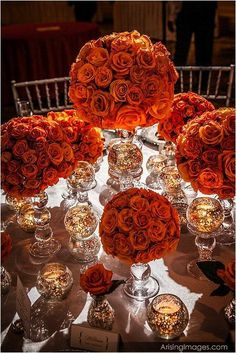 This year's fall winter wedding color trends are full of expression, but also provide fabulous hues perfect for a creating a foundation to a wedding scheme. Orange Centerpieces, Fall Wedding Centerpieces, Table Centerpieces, Wedding Table, Wedding Decorations, Centerpiece Ideas, Wedding Receptions, Wedding Mandap, Stage Decorations