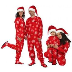Holiday Matching Family Pajamas >> Footed Winter Snowflake