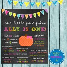 Our Little Pumpkin Themed Birthday Chalkboard  by ModernStarPrint, $12.00