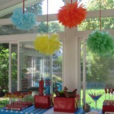 Yo Gabba Gabba pom poms and food display by trisha