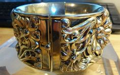 """VINTAGE ART NOUVEAU Gold Plated Floral Hinged Bangle Bracelet (7"""") #Bangle"""