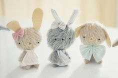 three woolly rabbits