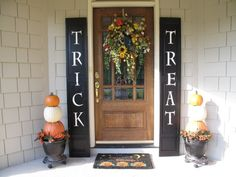 Trick or Treat Shutters for Halloween, Trick or Treat Shutters and Pumpkin Topiary on my Front Porch. Makes a graphic statement and easy to do in less than 2 hours., This is a quick and easy idea for your front porch: painted shutters (actually re-purposed bi-fold closet doors) and pumpkin topiaries. This has an instant, graphic impact!, Porches Design ;)