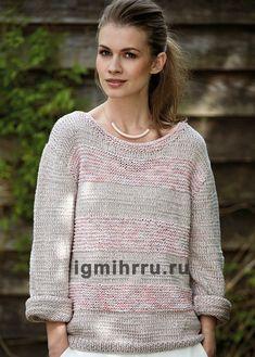 c53a5418724 Светлый меланжевый пуловер с рельефными полосами. Вязание спицами