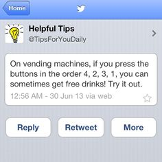 Vending machine hack.