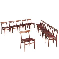 Early Set Of 12 Hans J Wegner Chairs With Original Leather Modern Dining Room