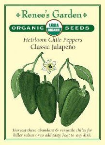 """Pepper, Chile, """"Classic Jalapeno"""" Heirloom - Certified Organic Seeds by Renee's Garden. $3.79. Killer for Salsa. Adds Tasty Heat to Any Dish. Heirloom Variety. Harvest Green or Red. Abundant Crops of Versatile Chiles. Heirloom variety offers abundant crops of versatile chiles for killer salsas or to add tasty heat to any dish. Harvest them either deep glossy-green or fully colored to red."""