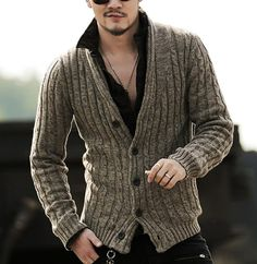 """HOT PRICES FROM ALI - Buy """"Mens sweaters male V neck winter Cardigan men Knitwear Sweater Slim Casual coat brand cardigan masculino 2016 fashion autumn"""" for only USD. Latest Fashion Clothes, Fashion Outfits, Winter Cardigan, Knit Cardigan, Cardigan Sweaters, Cardigan Pattern, Cardigans, Look Man, Herren Outfit"""