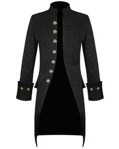 Pentagramme Mens Jacket Black Brocade Gothic Steampunk Victorian Frock Coat