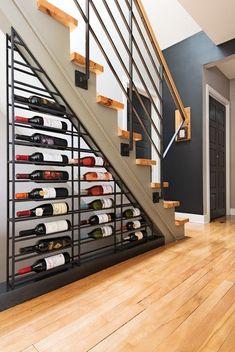 living tips-wine-storage-weinregal-under-the-stairs- wohntipps-wein-aufbewahrung-weinregal-unter-der-treppe living tips-wine-storage-weinregal-under-the-stairs - Under Stairs Wine Cellar, Basement Bar Designs, Basement Ideas, Home Wine Cellars, Wine Cellar Design, Home Theater Design, Wine Storage, Storage Ideas, Basement Renovations