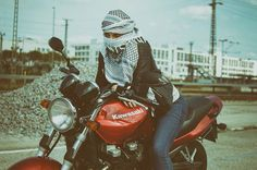 Girl and her motorcycle.  Me riding my Kawasaki zr750. Photo: mel d photography.