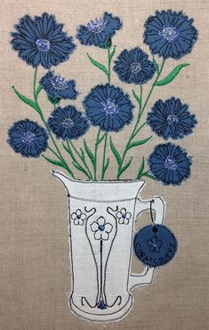 Embroidered Quilts, Applique Quilts, Embroidery Applique, Freehand Machine Embroidery, Free Motion Embroidery, Embroidery Designs, Applique Designs, Flower Applique Patterns, Raw Edge Applique