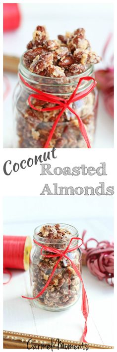 Coconut Roasted Almonds – Easy to make. Perfect for on the go snacking! Quick Snacks, Healthy Snacks, Simple Snacks, Diet Snacks, Vegan Snacks, Healthier Desserts, Protein Snacks, Yummy Snacks, Paleo Honey