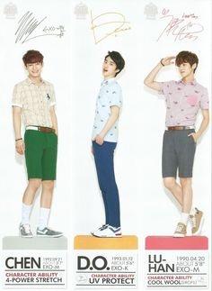 keke these men with their legs & their beautiful faces~ CHEN, D.O, & LUHAN~!!