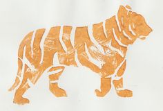 Yellow tiger-Linoleum print by Petra Wester Norgren